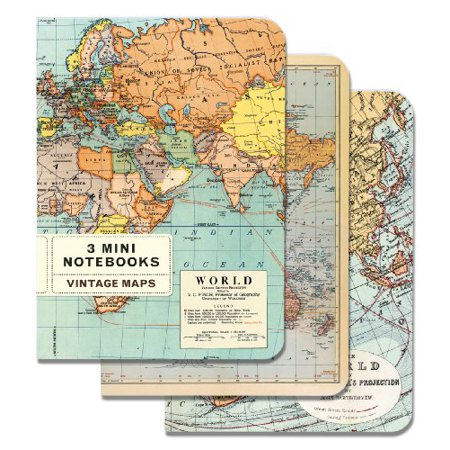 Cavallini Mini Notebooks Vintage Maps 4 x 5, 3 Mini Notebooks - Mini Notebooks