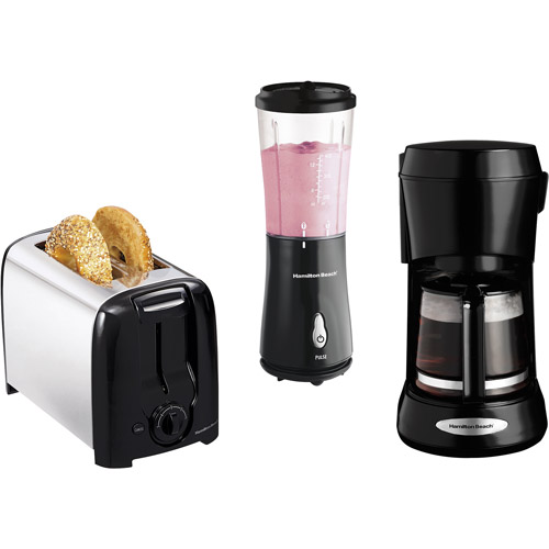 Hamilton Beach Toaster, Blender and Coffee Maker Value Bundle, Black