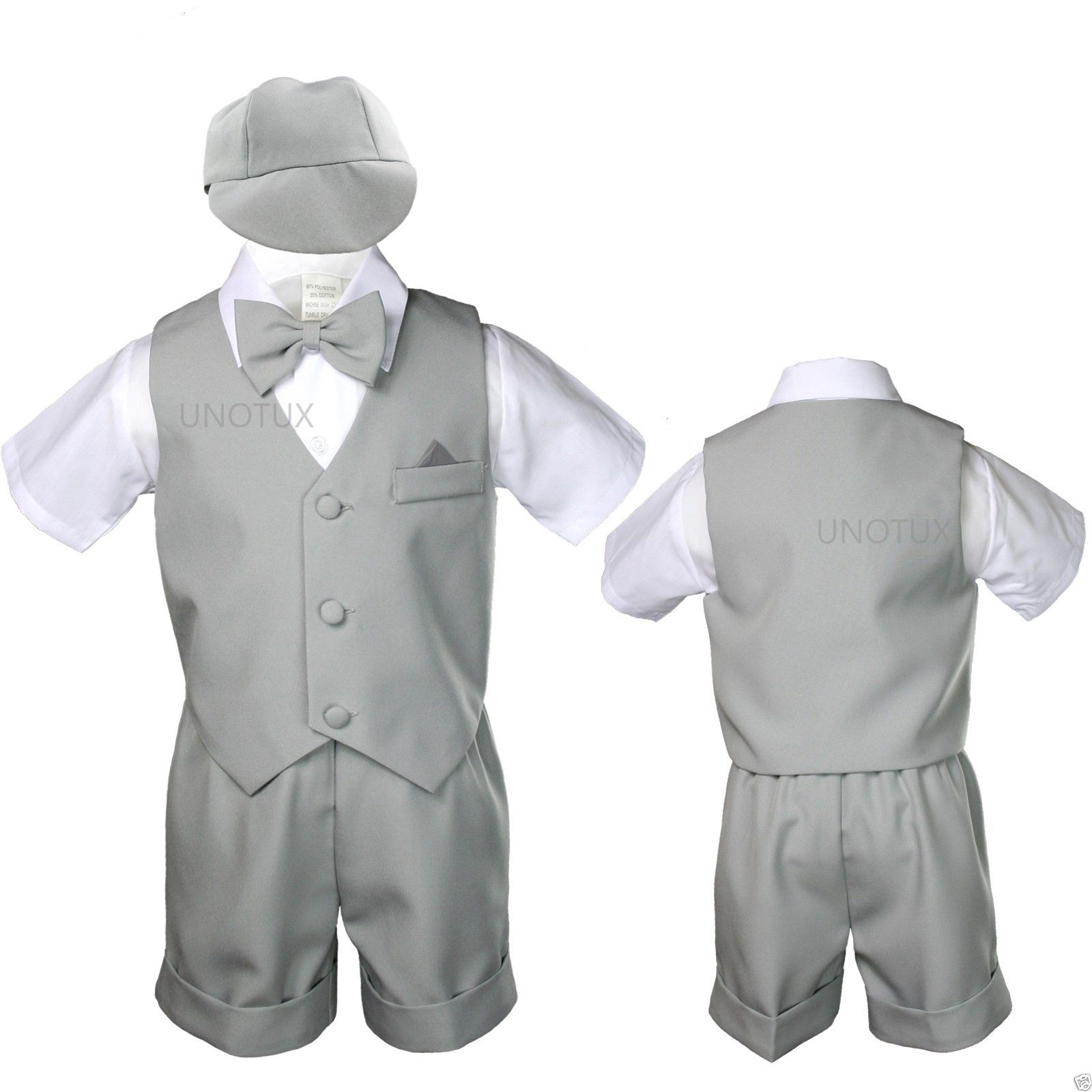 Silver Baby Infant Boy Toddler Formal Eton Suit Vest Set Shorts S M L XL 2T - 4T