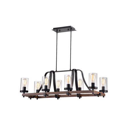 Guntel Forged Black Metal and Wood 8-Light Chandelier with Glass Pillar Shades