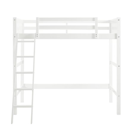 Your Zone Kids Wooden Loft Bed with Ladder, Twin, White
