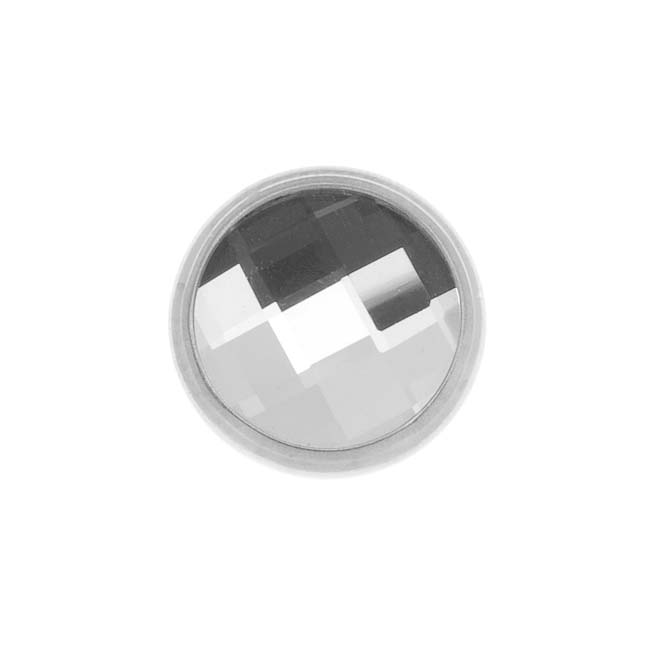 SWAROVSKI ELEMENTS Silver Plated Chessboard Crystal Decorative Button 11mm (1)