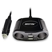 BESTEK 150W 2-Socket Cigarette Lighter Power Adapter DC Outlet Splitter 3.1A Dual USB Car Charger for iPhone X/8/7/6s/6 Plus, iPad, Samsung Galaxy S6/S6 Edge and More