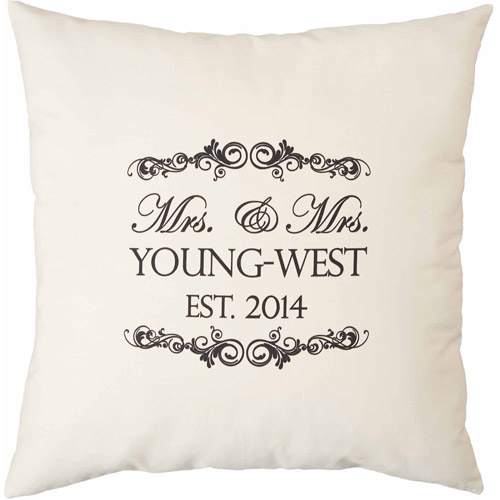 "Personalized Mrs. and Mrs. Natural Throw Pillow, 15"" x 15"""