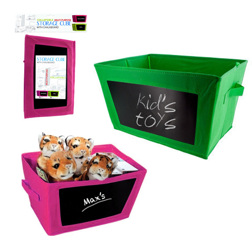 1 Collapsible Storage Bin Toy Box Fabric Closet Organizer Chalkboard Container by KOLE IMPORTS