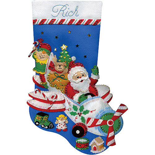 "Flying Santa Stocking Felt Applique Kit, 18"" Long"