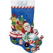 "Flying Santa Stocking Felt Applique Kit, 18"" Long"