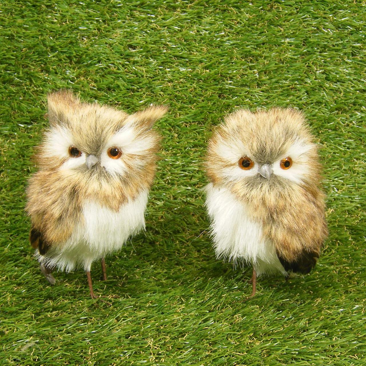1 Pair (2 Pc) 5 Inch Tall Petite Pair Of Snow Brown Owl