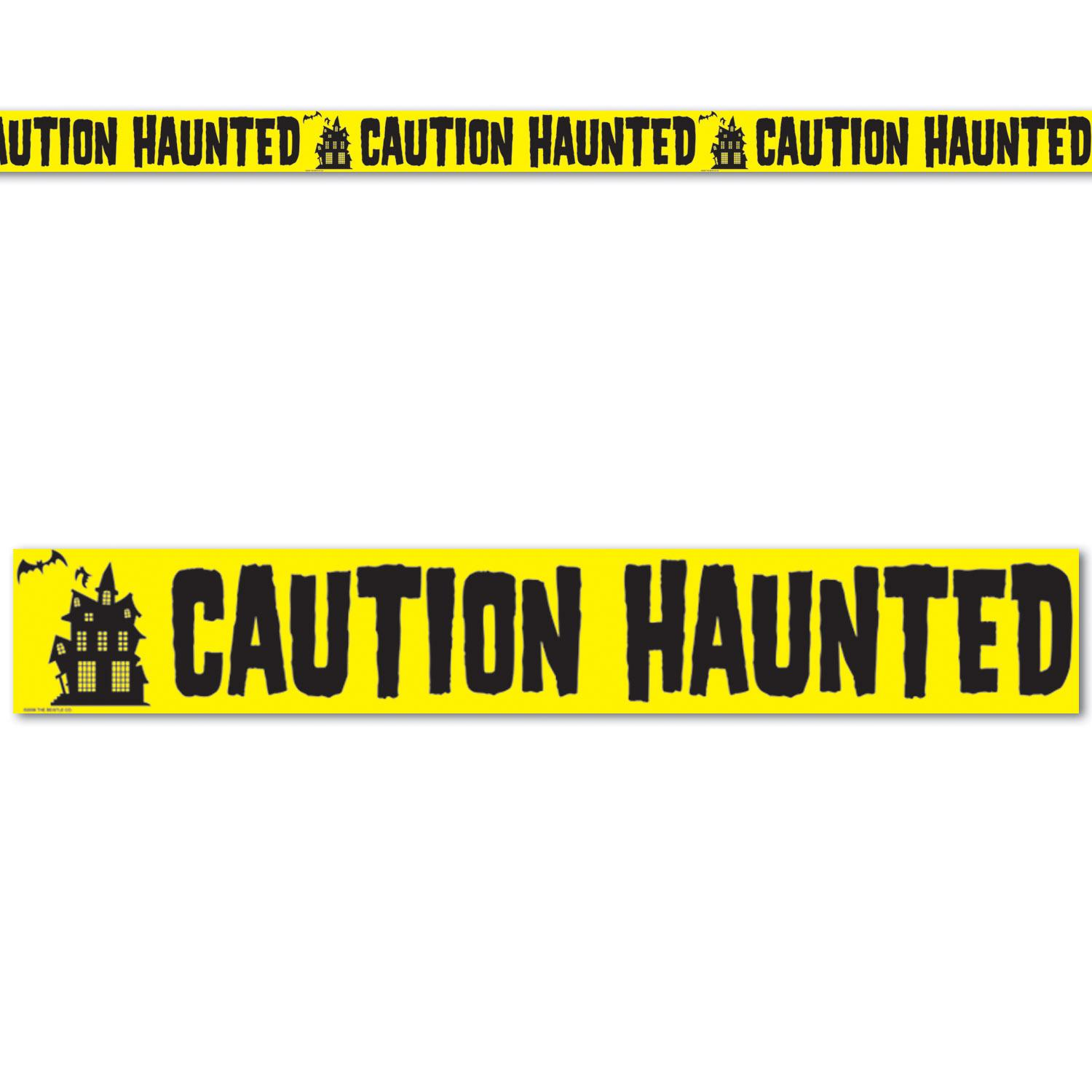 "Club Pack of 12 Yellow and Black ""Caution Haunted"" Halloween Party Tape Decorations 20'"