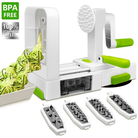 Vegetable Spiral Slicer, ANKO 100% Stainless-Steel Blades BPA FREE Spiral Slicer, 5-Blade Best Fruits and Veggie Pasta and Spaghetti Maker for Low Carb,Gluten-Free Meals with Extra Blade Caddy