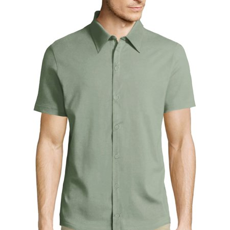 Men's Short Sleeve Premium Slim Fit Solid Dress Shirts