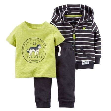 Carters Infant Boys 3-Piece Little Explorer Hoodie T-Shirt & Sweatpants Set