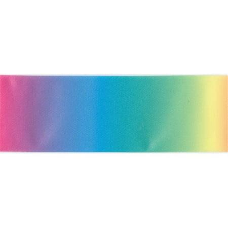 42558 Single Fold Satin Fancy Blanket Binding 2 in. 4.75 Yards-Rainbow
