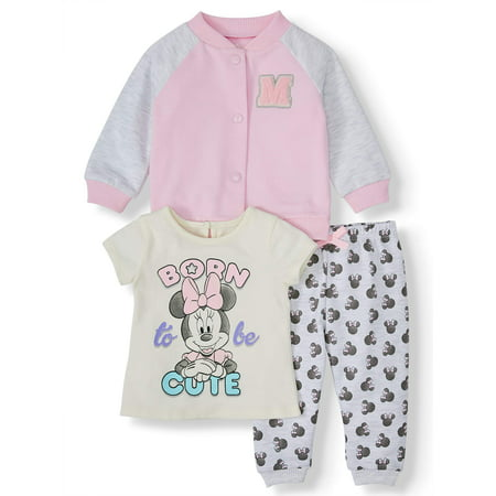 Disney Minnie Mouse Baby Girl Varsity Jacket, Jersey Tee, and Jogger, 3pc Outfit Set (Jersey Outlets)