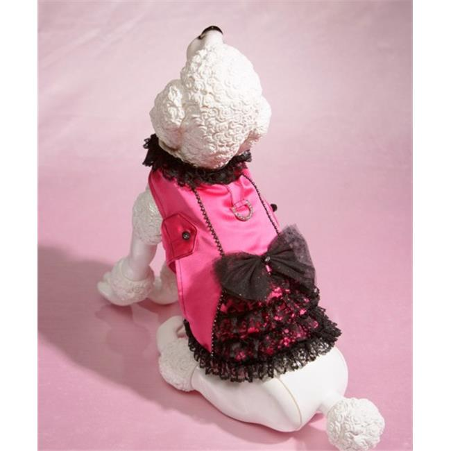 Hollywood Poochie HP804 Satin & Lace Ruffle Doggie Corset Harness Fully Lined, Hot Pink & Black - Large