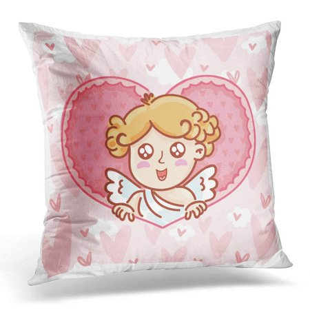 ARHOME Cute Cupid Baby Angel Character with Wings Bow and Arrow on Hearts Pink Romantic Love in Cartoon Doodle Pillow Case Pillow Cover 20x20 inch