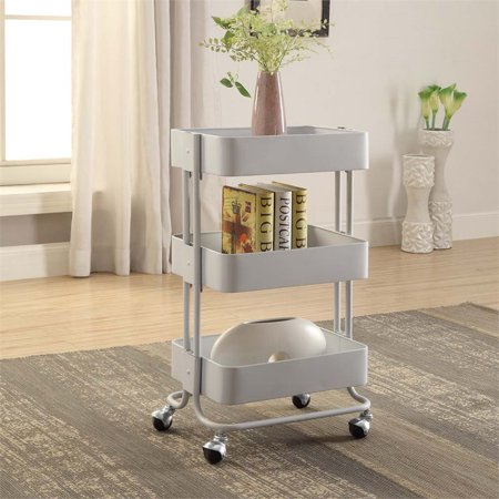 Linon Solid Metal Three Tier Cart, 29 inches Tall, Multiple Colors