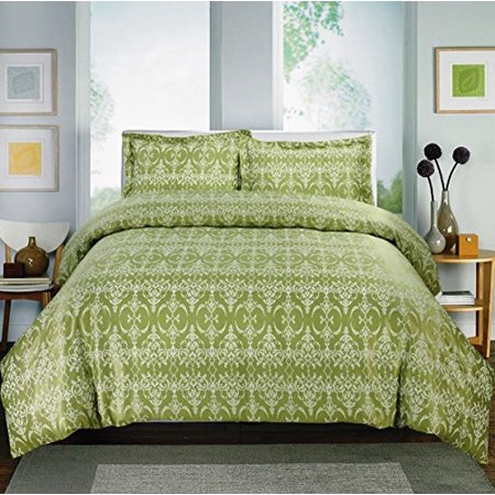 Home Sweet,Printed Damask 600- Thread Count, Cotton Rich Sheet Set Collection (King, Sage Damask)