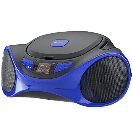 Sylvania Portable Bluetooth Cd Player AM/FM Radio Tuner Mega Bass Reflex Stereo Sound System Plus Cube Cable 6ft Aux Cable to Connect Any Ipod, Iphone or Mp3 Digital Audio