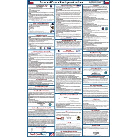 2017 Texas State And Federal Labor Law Poster  Laminated
