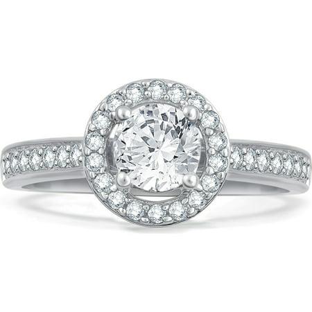 1.00 Carat T.W. Diamond Round Frame 14K White Gold Engagement Ring