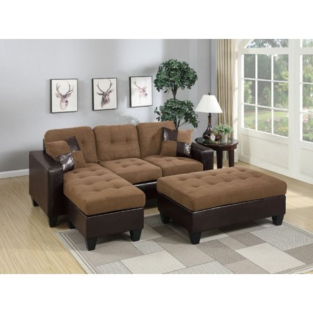 Admirable Living Room Reversible All In One Sectional Sofa Cocktail Ottoman Saddle Plush Microfiber Chaise Machost Co Dining Chair Design Ideas Machostcouk