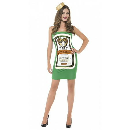 Liquor Bottle Tube Dress Adult Costume Party Monster Green Jagermeister - Small - Drink Costumes