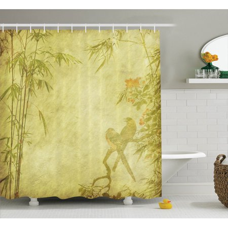 Bamboo house decor shower curtain set silhouettes of for Bird themed bathroom accessories