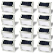 Solar Stair Light, EpicGadget Waterproof Outdoor LED Step Lighting 3 LED Solar Powered Step Lights Stainless Steel Outdoor Lighting for Steps Paths Patio Stairs (Pack 12)