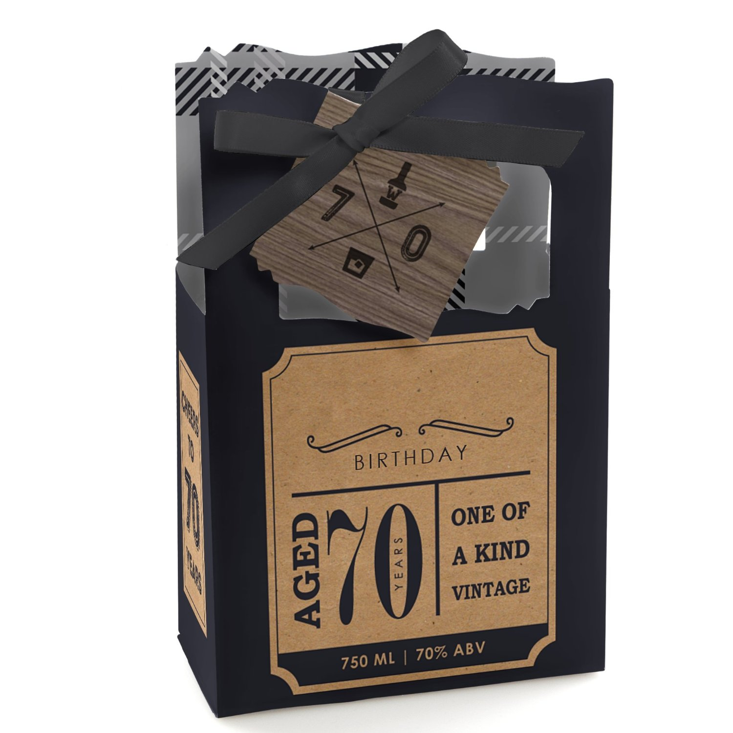 70th Milestone Birthday - Dashingly Aged to Perfection - Party Favor Boxes - Set of 12