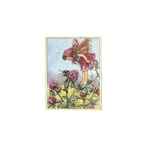 Janlynn Red Clover Flower Fairy Rubber Stamp