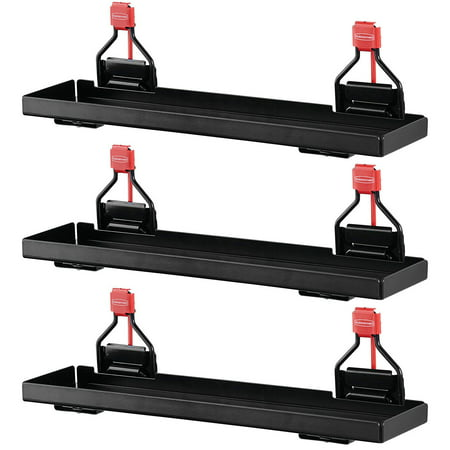 Rubbermaid Outdoor Metal Backyard Storage Shed Accessories Shelf, Black (3 Pack) Rubbermaid Storage Shelves