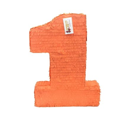 APINATA4U Large Solid Orange Number One Pinata First Birthday](Number One Pinata)