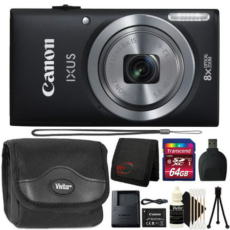 Canon Powershot Ixus 185 / ELPH 180 20MP Compact Digital Camera Black with 64GB Accessory Kit