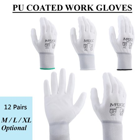 12 Pairs M/L/XL White Nylon PU Coated Safety Work Gloves Garden Builders Grip US