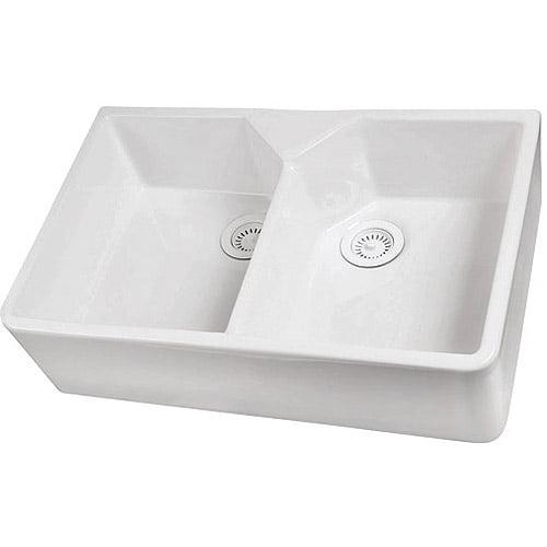 Barclay 31 5 Double Bowl Farmer Sink With No Faucet Holes Walmart Com Walmart Com