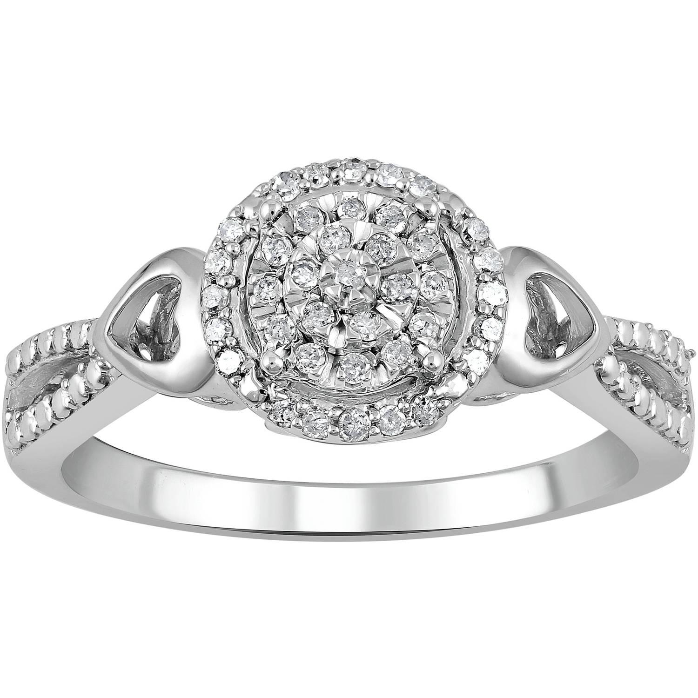 Heart 2 Heart 1/6 Carat T.W. Carat Diamond Cluster Sterling Silver Promise Ring