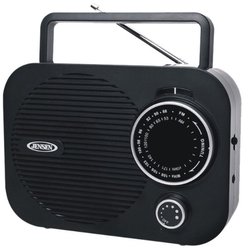 Jensen All in One Compact Design Pocket Size Portable AM/FM Radio with Built-in Speaker, Earphone Jack, LED Tuning Indicator & Carry Strap