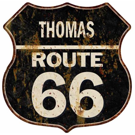 THOMAS Route 66 Personalized Shield Metal Sign Man Cave Gift