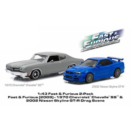 1970 chevrolet chevelle ss matt grey and 2002 nissan skyline gt-r blue drag scene fast and furious movie (2009) diorama set 1/43 by greenlight 86252 72 Chevrolet Chevelle Quarter