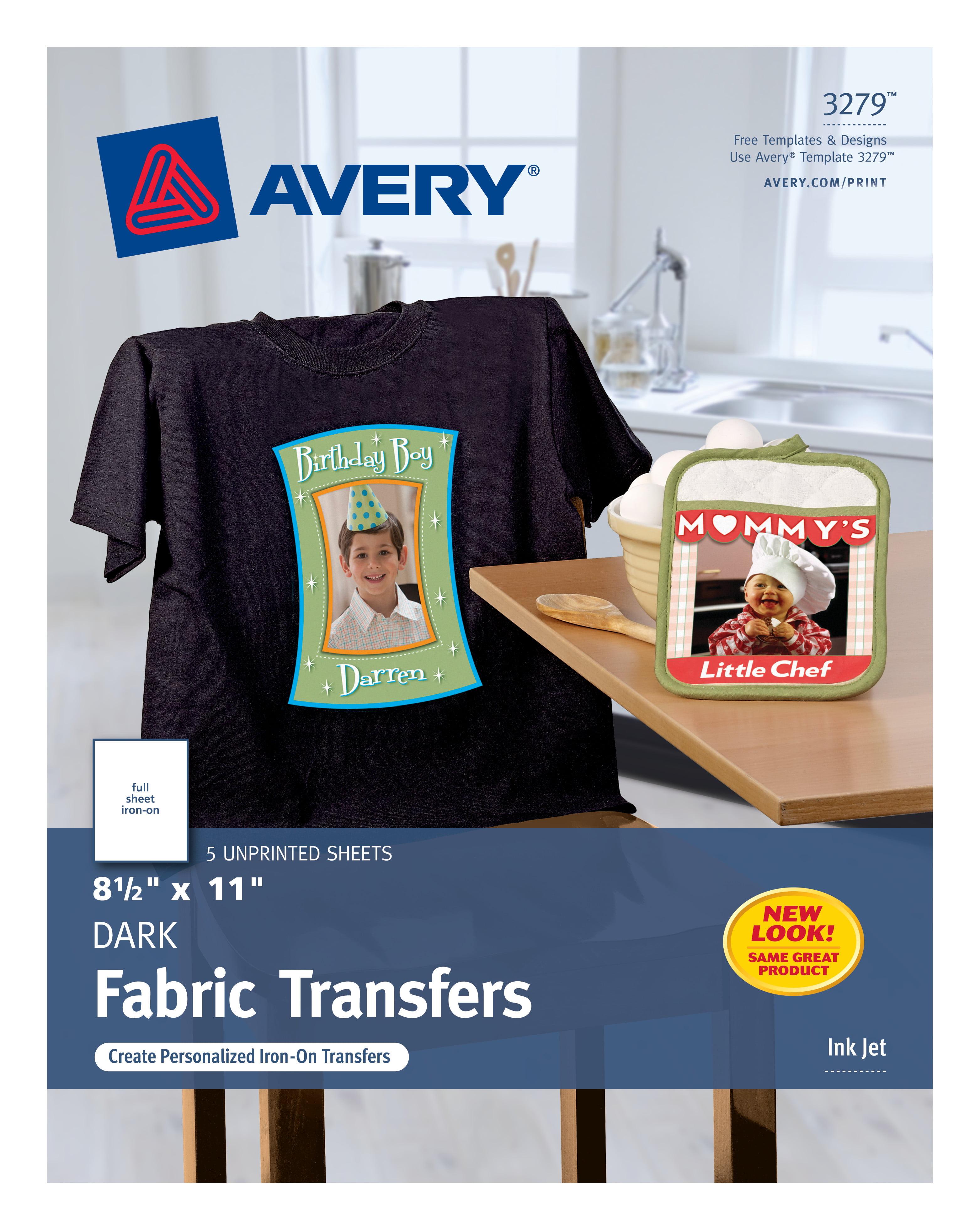 Avery Dark T Shirt Transfers Matte 8 12 X 11 5 Labels 3279