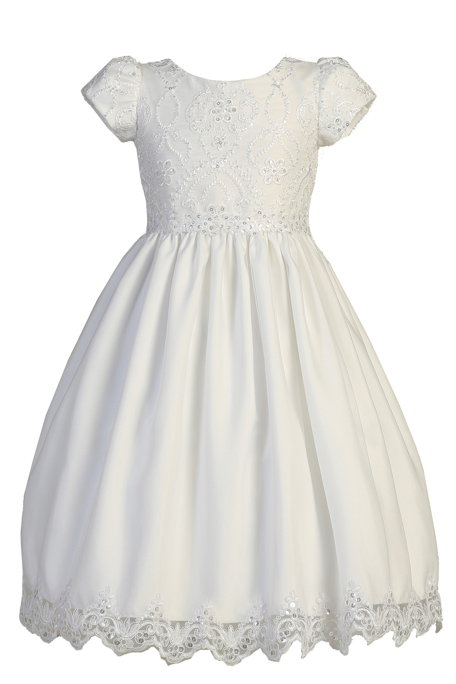 Lito - Girls White Short Sleeve Embroidered Lace Plus Size Communion Dress  - Walmart.com
