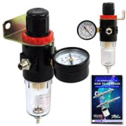 Airbrush Compressor AIR Regulator with Water-trap Filter, Now Included Is a (Free) How to Airbrush Training Book