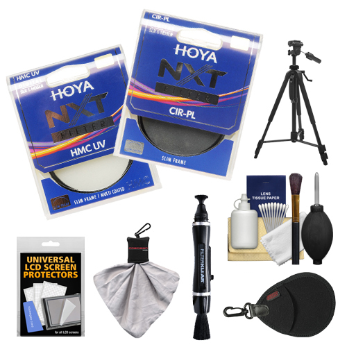 Hoya 72mm NXT (HMC UV + Circular Polarizer) Multi-Coated Glass Filters with Tripod + Accessory Kit