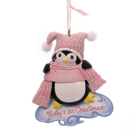 Holiday Ornaments BABY'S 1ST CHRISTMAS PENQUIN Polyresin Scarf Hat - Holiday Penguin