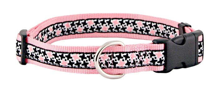Black & Pink Pinwheels Jacquard Ribbon Dog Collar Closeout Large by Generic