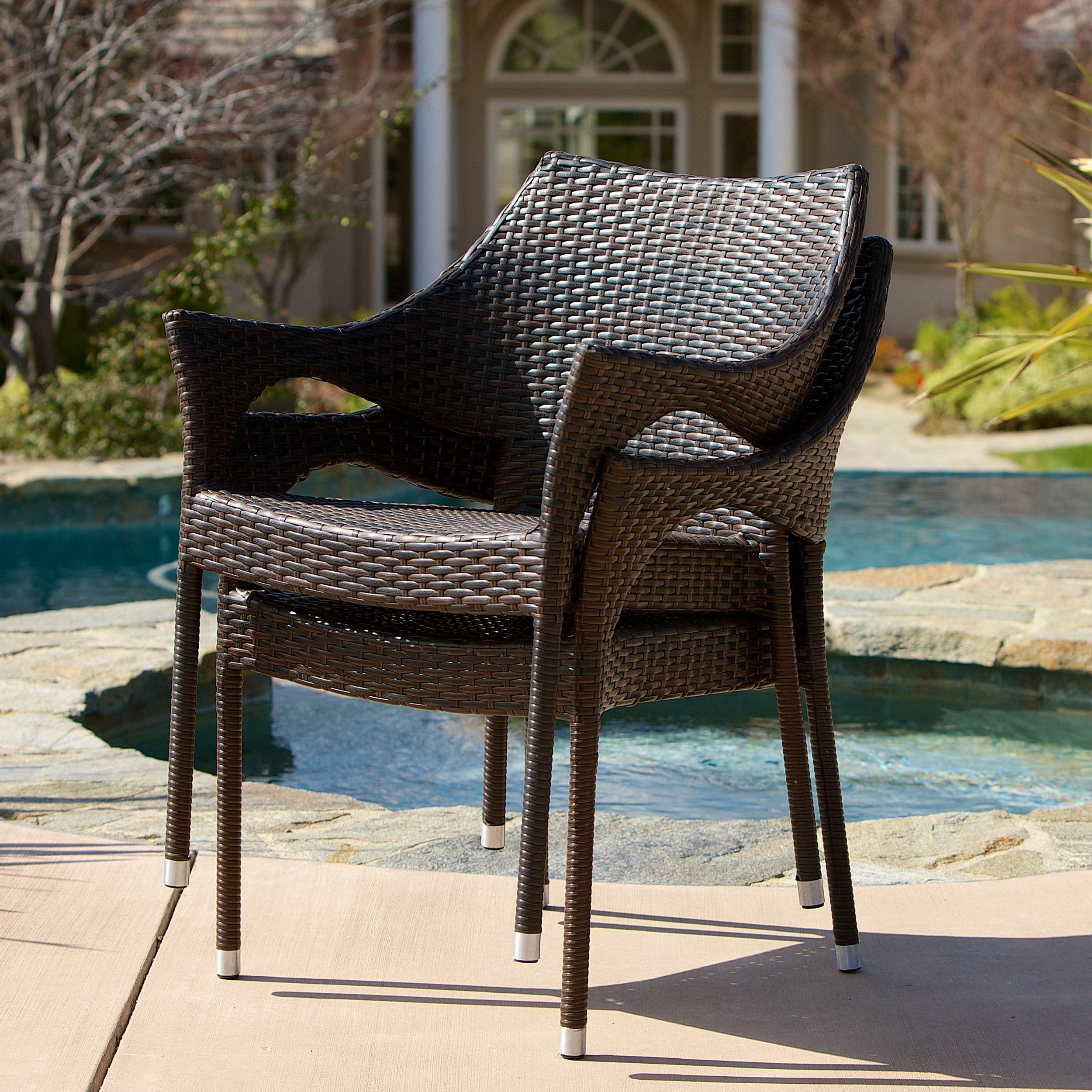 ... Noble House Outdoor Brown Wicker 3 Piece Chat Set With Cushions