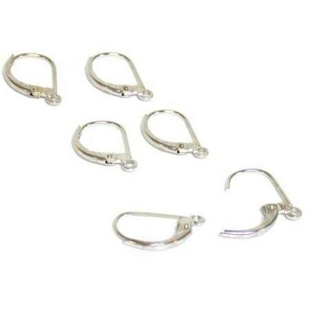 6 14K White Gold Lever Back w/ Loop Earring Findings 6 New 14K White Gold
