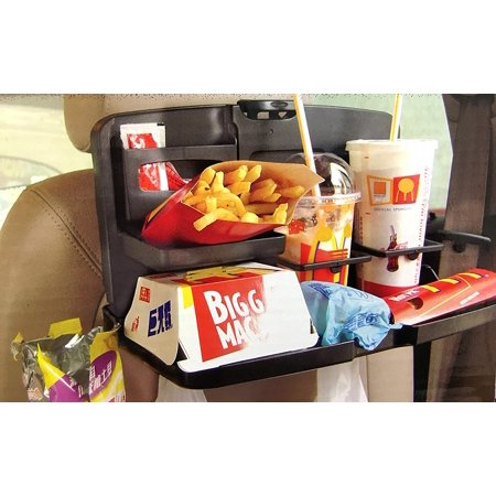 Multi-Functional Portable Black Car Food Snack Tray Automotive Food Drink Toys Meal Tray Cup Holder Organizer