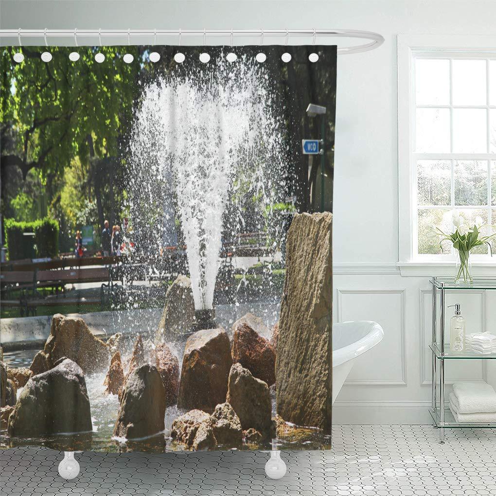 Cynlon Colorful Water Fountain In The Park Austria Vienna Green Bathroom Decor Bath Shower Curtain 60x72 Inch Walmart Com Walmart Com
